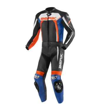 Мъжки кожен  мото екип - две части Berik Ascari Pro черно/оранжево/синьо