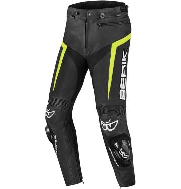 Кожен мото панталон Berik Misle черно/неоново жълто