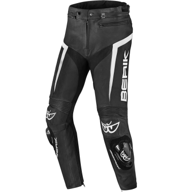 Кожен мото панталон Berik Misle черно/бяло
