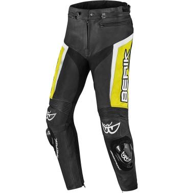 Кожен мото панталон Berik Misle черно/бяло/жълто